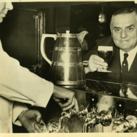 Oscar Tschirky enjoying his first glass of beer following the end of Prohibition