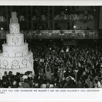 The Waldorf=Astoria celebrates its Golden Anniversary with a 21-foot-tall cake, the Grand Ballroom, 1981